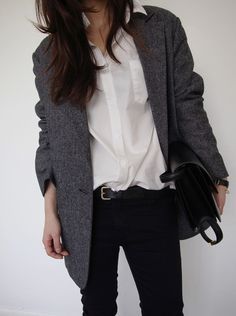 androgynous style - shirt, blazer coat, skinny jeans. Simple + classic