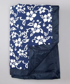 Look at this 54'' x 84'' Navy Hawaiian Outdoor Blanket on #zulily today!