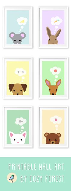 Printable animals - nursery wall art: These animals whith their cute little faces can help children to fall asleep at night. They would look great in a pastel color themed nursery room. They are available as instant downloads in the Cozy Forest shop on Etsy.