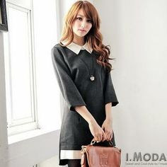 Buy 'OrangeBear – 3/4-Sleeve Contrast-Collar Shift Dress' with Free International Shipping at YesStyle.com. Browse and shop for thousands of Asian fashion items from Taiwan and more!