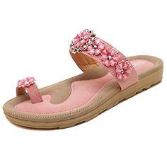b7b361c37276e0 Maybest Womenss Summer Flower Rhinestone Thong Sandals Bohemian Flip Flops  Casual Shoes Pink 7 B M US