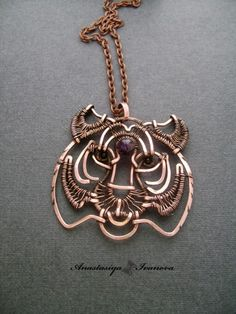 Suspension (copper, amethyst, obsidian, patina) pp 5 * 5cm