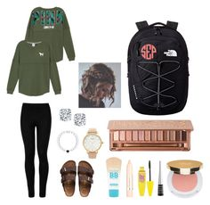 """""""Cute lazy school day outfit"""" by agrava ❤ liked on Polyvore featuring Wolford, Birkenstock, Kate Spade, Maybelline, L'Oréal Paris, Wet n Wild, Isaac Mizrahi, Urban Decay and The North Face"""