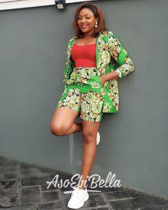 Stylish Chics Ankara Shorts With Matching Jackets Nigerian Dress Styles, Ankara Long Gown Styles, Ankara Styles For Women, Lace Dress Styles, Ghanaian Fashion, Latest African Fashion Dresses, African Dresses For Women, African Wear, African Clothes