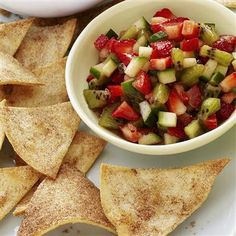 {Strawberry Salsa w/ Cinnamon Tortilla Chips}...Salsa: 1 c chopped strawberries, .5 c chopped kiwi, .5 c chopped cucumber, 1 T honey, .5 t lime juice, .5 t ground cinnamon, .25 ground ginger... Chips: Cut tortillas into 8 wedges, spray with nonstick spray, sprinkle 2 T sugar & 1 t cinnamon, 375/8-10 mins