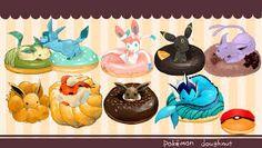 Eevee is in a doughnut