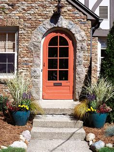 Make entrances appealing    Revive your front entrance (left). Paint the front door a contrasting color, and add potted flowers.