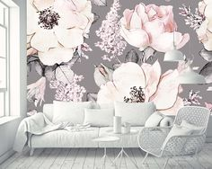 Removable Wallpaper Mural Peel & Stick Watercolor Seamless Pattern with Pink Flowers and Leaves on Gray Background Wasserfarben Kunst Einfach Wasserfarben Kinder Kunst 🎨 Colorful Wallpaper, Wall Wallpaper, Pink Office Wallpaper, Bedroom Decor, Wall Decor, Floral Wall, Girl Room, Wall Design, Wall Murals