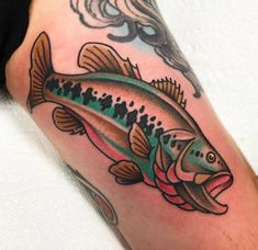 Largemouth bass by Tony Talbert @ Jack Browns Tattoo Revival. Fredericksburg, VA. : tattoos
