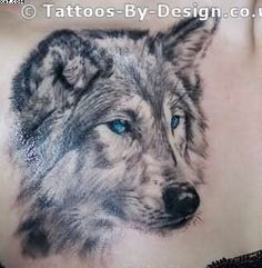 Wolf Tattoo With Blue Eyes On Chest