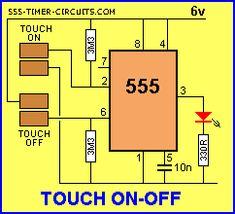 Interruptor del tacto y toque el circuito de ON-OFF