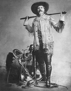 "William Frederick ""Buffalo Bill"" Cody, pictured here in 1900, was a famed entertainer of the late 19th century. Cody led Buffalo Bill's Wild West Show, a touring performance that displayed stories from the West about cowboys and Indians."