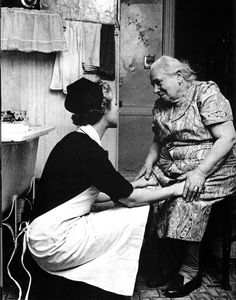 Undated photo of a Visiting Nurse Service of New York nurse with an older New Yorker.