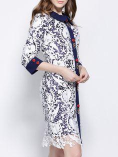 Paneled Lace Long Coat