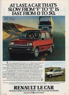 Vintage Automobile Advertising: 1980 Renault Le Car, Imported by American Motors, Car and Driver Magazine, July 1980.