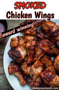 How to Smoke Chicken Wings - step by step instructions to get award winning wings! meat Smoked Chicken Wings Recipe - Make Your Meals Traeger Recipes, Grilling Recipes, Rib Recipes, Oven Recipes, Easy Recipes, Smoke Chicken Wings Recipe, Bbq Chicken Wings, Wings On Grill, How To Smoke Chicken