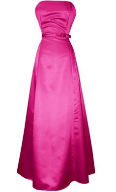 Strapless Satin Long Gown Bridesmaid Prom Dress Formal Junior Plus Size, Large, Fuchsia Black Formal Gown, Formal Gowns, Strapless Cocktail Dresses, Strapless Dress Formal, Prom Dress, Dress Wedding, Junior Dresses, Plus Size Dresses, Elite Bridal