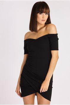 KALLIOPE BLACK BARDOT BODYCON MINI DRESS