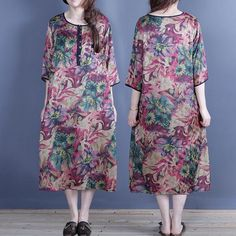Retro Loose Round Neck Half Sleeve Printed Dress