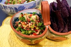 Texas Caviar from the Pioneer Woman... replaced the sugar with palm sugar and the black eyed peas with black beans and white beans.