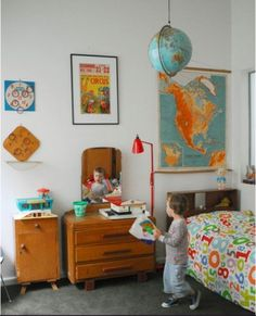 vintage room - need globes and maps for the boys; I also need some planets like Gage used to have (he's over it now, but Jett won't be... LOL)