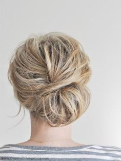 Kate from The Small Things Blog creates the hairstyle with clear elastics, bobby pins, and a little bit of texture powder. #WeddingHair #Hairstyles