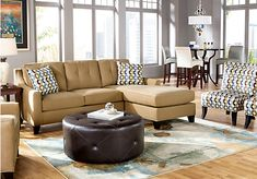 Our couch and flooring is close to this.  Wall color looks nice...   picture of Cindy Crawford Madison Place Peat 2Pc Sectional  from Sectionals Furniture