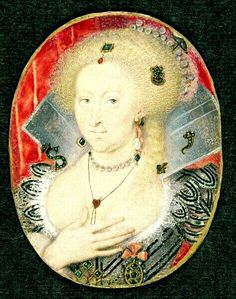 Anne of Denmark, who inherited much of Queen Elizabeth I's elaborate wardrobe when her husband succeeded to the throne of England as James I, wears the crossbow jewel (which may have belonged to Queen Elizabeth I, according to Janet Arnold), pinned at the back of her hair. She may also be wearing one of Elizabeth's diamond arrowhead pins. (Thanks to Michael Stennett for this commentary.) Euroopan Historia, Naiset, Muotokuvat