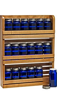 Spice rack and cobalt blue spice jars (darker wood is more my taste though)