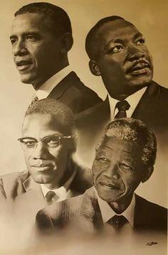 portraits d'hommes politiques noirs US et sud-africain : Barak Obama Martin Luther King Malcolm X Nelson Mandela Art Black Love, Black Leaders, Black Art Pictures, Black History Facts, Black History Month People, Black Artwork, Black African American, Native American, African American Artwork