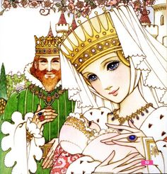 Takahashi Macoto drawing of a fairy tale king and queen with their baby.