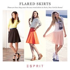Feminine, chic or urban? We are officially welcoming the skirt season and will show you how to combine the knee-length skirts with styling ideas from Paris, Rome  New York. #Esprit #travel