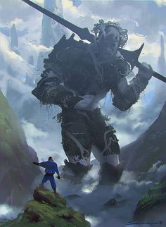 """Conceptual Art by YohannSchepacz  (looks like person is telling giant that the enemy has gone """"that way"""" [in other words, they're allies])"""