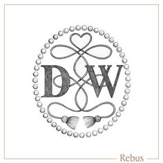 Hand drawn DW Monogram with heart, beads and tassel detailing, custom designed for a signet ring engraving. Ring Engraving, Engraved Rings, Signet Ring, Monograms, Layout Design, Bespoke, Hand Drawn, Tassels, Artworks