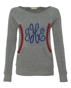 CUSTOM ORDER For CALLIE-Monogrammed Glitter Baseball Slouchy Off Shoulder Sweatshirt, Orange and Purple by Monogramjunkie on Etsy https://www.etsy.com/listing/208927588/custom-order-for-callie-monogrammed