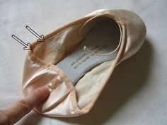 how to work out where to sew ribbons or elastic onto ballet shoes