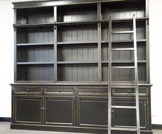 Three Bay French Provincial Style Library Bookcase With Ladder Black In Vic Ebay