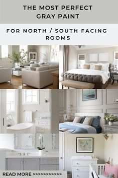 The best gray paint for north south facing homes. Choosing paint can be complicated but these colors work perfectly in a north south facing home. Bedroom Paint Colors, Interior Paint Colors, Paint Colors For Living Room, Paint Colors For Home, Interior Plants, Best Greige Paint Color, Best Neutral Paint Colors, Grey Paint, Paint Colours