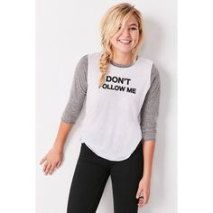 Truly Madly Deeply Don't Follow Me Baseball Tee ($39) ❤ liked on Polyvore featuring tops, t-shirts, white, white t shirt, crew neck tee, 3/4 sleeve tops, crewneck t-shirt e crewneck tee
