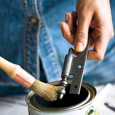Use Shellac to Restore Old Hardware  After removing dirt and paint drips from hinges, knobs, and pulls, seal the pieces with clear shellac—it will keep brasses from tarnishing too.