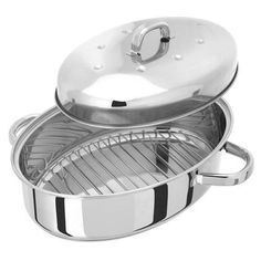 Stainless-Steel-Thermic-Oval-Roaster-Domed-Lid-Hob-Top-Oven-Cooking-Casserole