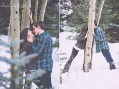 Playful engagement photos by denver wedding photographer winter mountain engagement photos