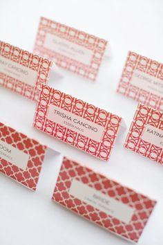 patterned escort cards