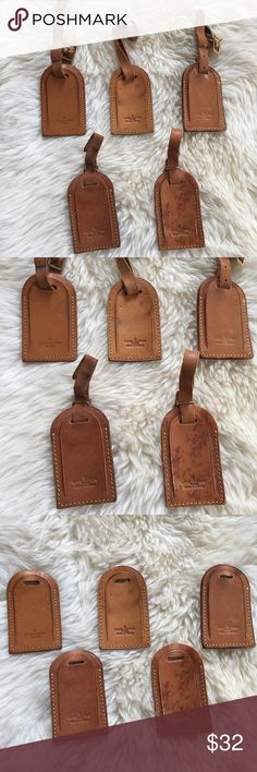 ONE Louis Vuitton luggage tag vachetta leather Authentic Louis Vuitton luggage tag. Listing is for ONE. Heavily worn and show many surface marks, which is why they're listed at a lower price point than my other luggage tags. Many have water marks/scratches/uneven patina. Straps that attach to tag may be worn in. Photos show each tag and flaws. All tags are functional and don't have flaws that impair use. Ask about specific tag before purchasing if you're after a specific one. This is the…