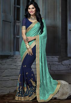 Buy Half N Half Art Silk Crushed Saree in Teal Green online,Item code: SYC5897, Occasion: Festive, Work: Contemporary, Resham, Zari, Fabric: Art Silk, Gender: Women