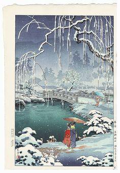 Spring Snow, Kyoto Maruyama, 1936 by Tsuchiya Koitsu (1870 - 1949); Japanese woodblock print................... ukiyoe japan decoration antique fineart home decor collectible japanese woodblock print handmade home art beautiful decorative etching illustration traditional woodcut