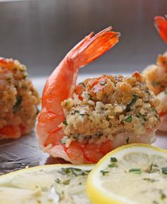 Stuffed shrimp is delicious appetizer.Fresh jumbo shrimp with bread crumb stuffing cooked in the oven.