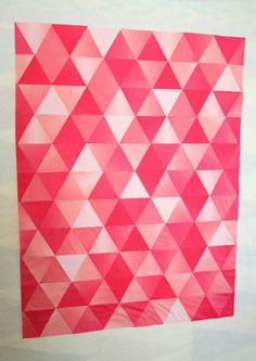 Triangle quilt made from yardage of a single fabric .... ombre solid in pink. Very effective. | Crazy Old Ladies Quilts