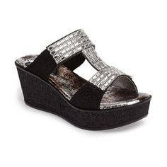 Women's Love And Liberty Sai Platform Wedge Sandal ($140) ❤ liked on Polyvore featuring shoes, sandals, black, jeweled wedge sandals, black wedge shoes, black sandals, black wedge sandals and wedge sandals