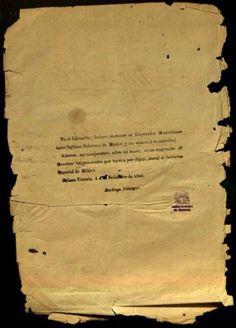 Santiago Vidaurri, originario de Lampazos de Naranjo y gobernador de Nuevo León y Coahuila, reconoce a Maximiliano como Emperador de México en Salinas Victoria, el 4 de septiembre de 1864. documento del acervo del Archivo Histórico de Monterrey.